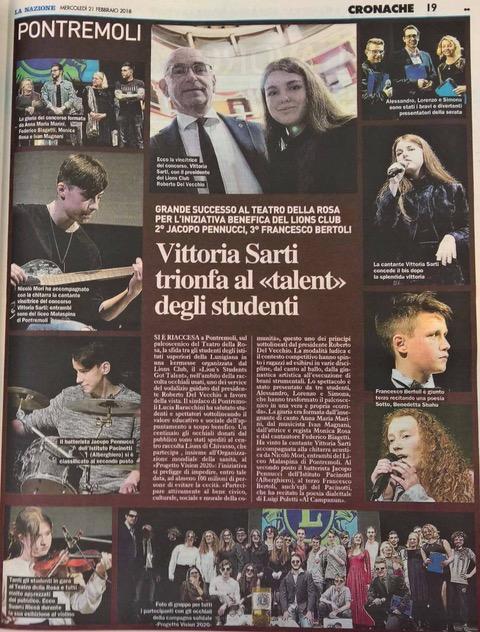 Articolo la Nazione Lion's got Talent 2018